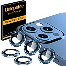 UniqueMe [5 Pack] Camera Lens Protector Compatible for iPhone 12 Pro Max 6.7 inch, [Precise Cutout] Bling Camera Cover Circle Tempered Glass - Diamond Blue