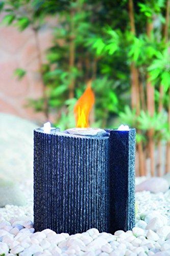 Heissner LED Steinbrunnen Komplett Set mit Ethanol Feuer