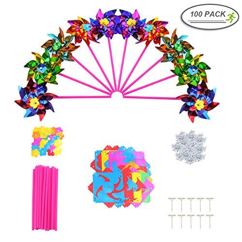 100 pcs Moulin à vent, Mini pour enfants – Petite fête Pinwheels Moulin à vent 16 x 27,9 cm