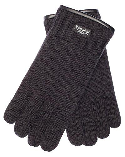 EEM Herren Strick Handschuhe FYNN mit Thinsulate Thermofutter aus Polyester, Strickmaterial aus 100% Wolle; schwarz, M