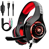 KuanDar Ele Casque Gaming , Anti-Bruit ,3.5mm Casque Gamer Filaire avec Micro,Bandeau Gaming Headset pour Ps4 Pc Ipad Xbox One, Black Red
