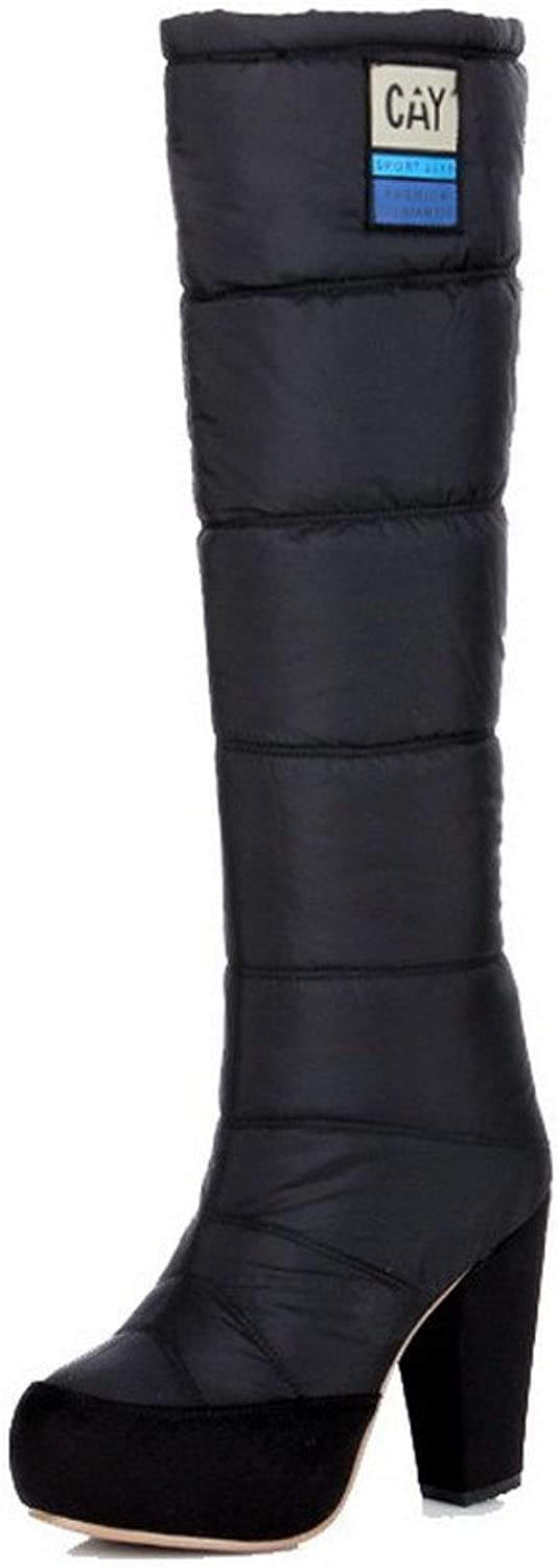 WeenFashion Women's Round Closed Toe High-top High-Heels Solid Blend Materials Boots