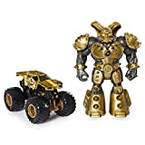 Monster Jam, Official Max-D 1:64 Scale Monster Truck and 5-inch Maximus Creatures Action Figure (Metallic Gold)