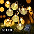 Globe Solar Battery String Lights, 21ft 30 LED Outdoor Bulb String Lights, 8 Modes Waterproof Solar Patio Lights for Yard Patio Garden Wedding Pergola Gazebo Bistro Party, Warm White (30 LED)