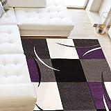 UN AMOUR DE TAPIS - Tapis moderne 1144 - Tapis chambre virgulada - Violet, blanc, noir - 120 x 170 cm