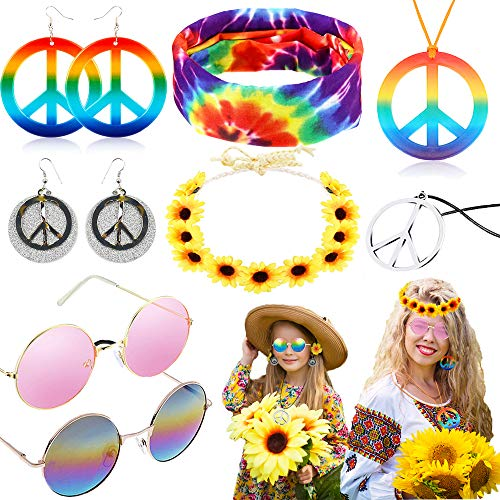 8 Pieces Hippie Accessories for Women, 70s Hippie Halloween Costume Set Hippie Sunglasses Peace Sign Pendant Tie Dye Headband Bandana Peace Sign Earrings