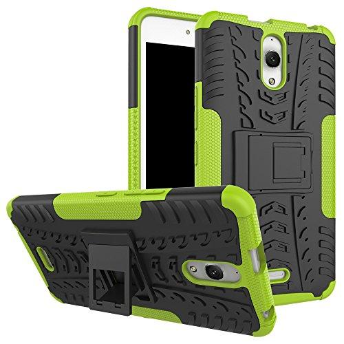 Sunrive Für Alcatel Onetouch Pixi 4 8050D (3G) 6.0 Zoll, Hülle Tasche Schutzhülle Etui Case Cover Hybride Silikon Stoßfest Handyhülle Zwei-Schichte Armor Design schlagfesten Ständer Slim Fall(grün)