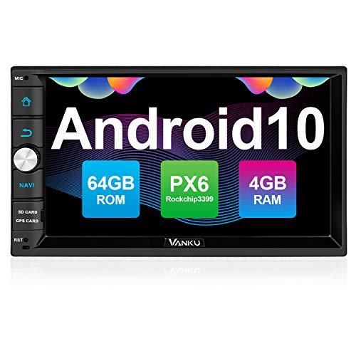 "Vanku Android 10 Radio 2 DIN Autoradio con PX6, 4GB+64GB, Qualcomm BT 5.0, GPS, Soporte Control Volante, WiFi, USB, SD, Mirror-Link, 4G, con 7"" Pantalla Táctil"