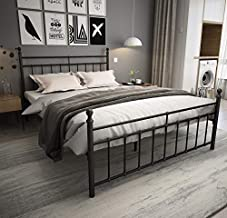 Metal Bed Frame Queen Size with Headboard and Footboard/Country Style Iron-Art Bed/Solid Sturdy Metal Slat/No Box Spring Needed/Mattress Foundation/Queen,Matte Black
