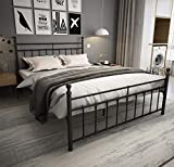 Metal Bed Frame Queen Size with Headboard and Footboard /Country Style Iron-Art Bed/Solid Sturdy Metal Slat/No Box Spring Needed/Mattress Foundation/Queen,Matte Black