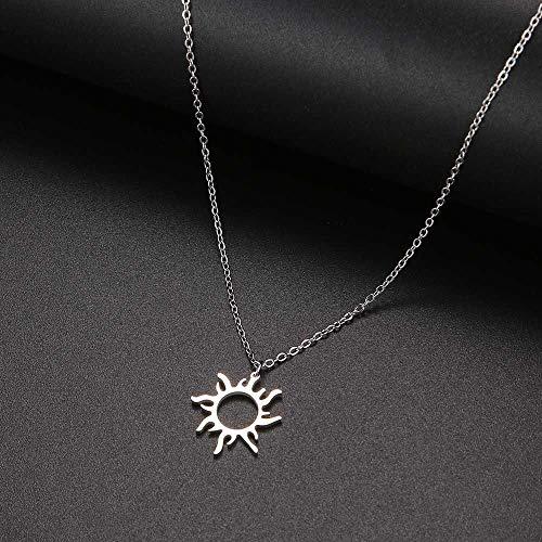 YQMR Colgante Collar para Mujer,Señoras Elegante Colgante Collar Plata Hueco Grabado Sol Colgante Moda Encanto Joyería Amuleto Regalo para Parejas Cumpleaños Amistad Familia