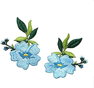 1pair Small Flowers Sewing Patches Embroidery Garment Sew DIY Decorations Accessories Applique (Style A)
