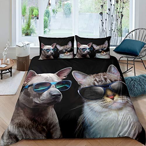 Tbrand Juego de cama con diseño de gato con estampado de carlino en 3D, para niños, niñas, niños, cachorros, gatitos con gafas de sol, ultra suave, adorable, colcha decorativa negra tamaño individual