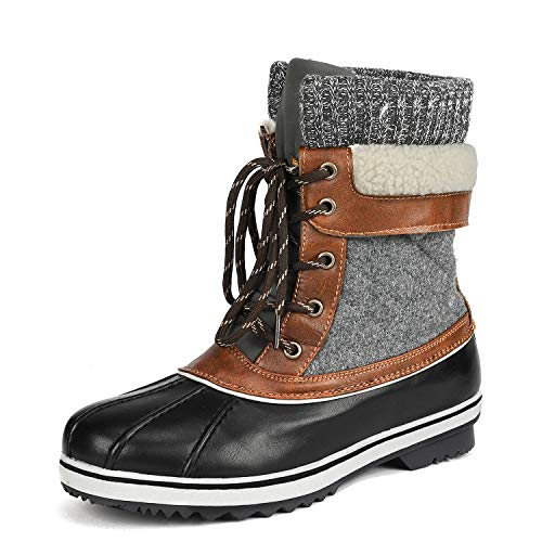 DREAM PAIRS Women's Monte_01 Black Grey Mid Calf Winter Snow Boots Size 6 M US