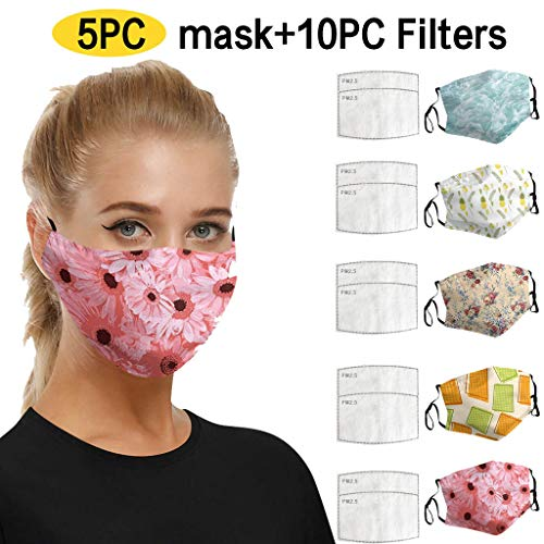 Xiang+y 5PC Men/Women Colorful Pattern Printed Dustproof Mask with 10 Filters, Stretchy Earloop, Breathable Non-Woven Bandanas, Reusable Cloth Cover (I)