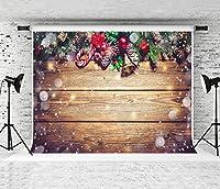 Kate ウッドクリスマス写真の背景写真クリスマスの装飾の背景マイクロファイバーウォッシャブルバックドロップ