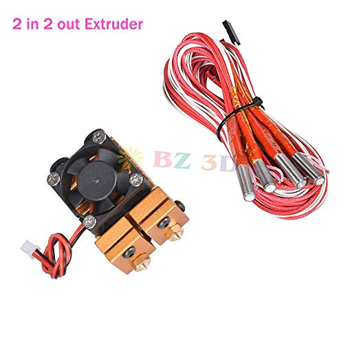 BZ 3D 2 In 2 Out Extruder 24V 40W Dual Color All Metal For 3D Chimera Hotend Kit Multi-extrusion V6 Dual Extruder 0.4mm/1.75mm 3D Printer Part(Gold) (24V 40W)