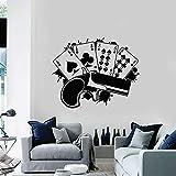Pegatinas de pared de vinilo de póquer jugando a las cartas pegatinas de suerte de juego decoración del hogar del dormitorio
