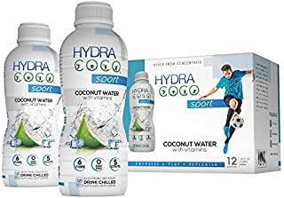 Hydra Coco Sport Original -100% Pure Coconut Water Drink w/Vitamins | Best Natural Sports Drink with Electrolytes to Hydra...