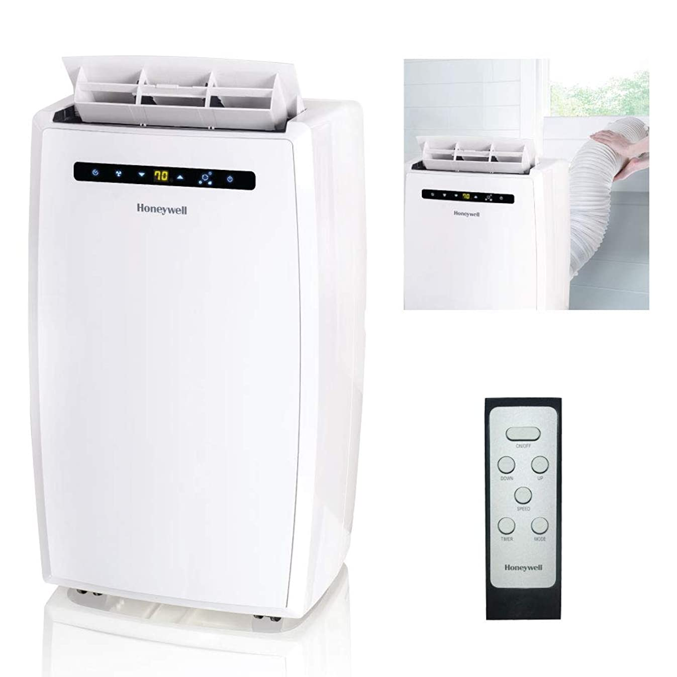 Honeywell MN10CESWW 10000 BTU Portable Air Conditioner, Dehumidifier & Fan for Rooms Up To 350-450 Sq. Ft. with Thermal Overload Protection, Washable Air Filter & Remote Control