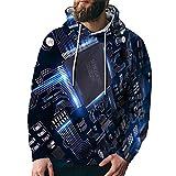 Sudadera con capucha 3D electrónica Chip impresión calle moda verano versátil deportes sueltos de gran tamaño, 2dwy007, XXXXL