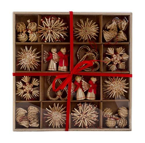 48 Stück Weihnachtsanhänger Stroh Anhänger Natur Baumschmuck