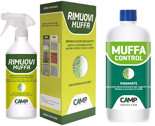Camp RIMUOVI MUFFA, Antimuffa igienizzante in KIT con MUFFA CONTROL risanante murale - Soluzione professionale per interni ed esterni. Elimina e Previene