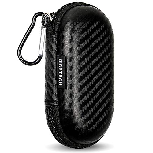 Earbud Case, RISETECH Earphone Carrying Case Holder EVA Headphone Storage Bag Small Zipper Pouch Compatible for EarPods, AirPods, Beats Flex, Urbeats3, Powerbeats, Bose Wireless Earbuds-with Carabiner