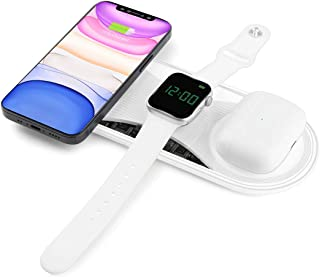 Senlleo 3 in 1 Wireless Charging Pad, Qi-Certified 15W/10W/7.5W Fast Wireless Charger Compatible with Apple AirPod iPhone ...