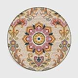 Yaduokj Alfombra de baño Alfombra Redonda Bohemia étnica patrón de Cosecha de Flores Mandala Alfombras for la Sala Modernos clásicos Alfombras Alfombras (Color : Color12, Size : Diameter 120CM)