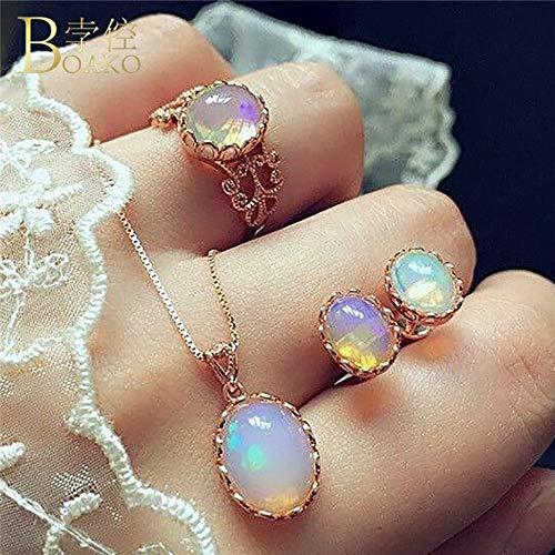 LBZDR Halskette Sets Für Frau Mondstein Anhänger Halsketten Damen Halsreif Wassertropfen Ohrringe Ring Hochzeit Schmuck Geschenke
