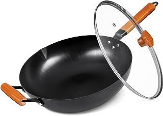 Wok avec couvercle, sans poêle chimique à induction 32,5 cm, marmite en fer 100 % acier au carbone avec poignée en bois am...