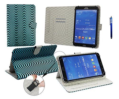 Emartbuy® Medion LifeTab E7331 7 Zoll Tablet Universal ( 7 - 8 Zoll ) Türkis Blau Wave Design Multi Angle Exekutive Folio Brieftasche Case Cover Grey InnenraummitKartensteckplätze + Blau Eingabestift