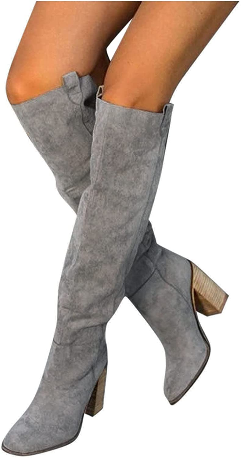AODONG Boots for Women,Pointed Toe Over The Knee Booties Boots Low Heel Side Zipper Dressy Booties Casual Hiking Boots