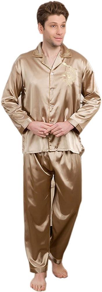 Mens Silk Satin Pajamas Set Sleepwear Loungewear Pyjamas PJS Long Sleeve 2PCS M016 M L XL