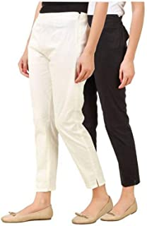 ALIYAA Official Cotton Lycra Pencil Pant/Trouser for Women's & Girl's (Pack of 2)