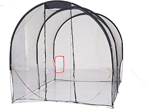Kapler Baseball prictice Net with Extra Baffle Net 16' (L) X10' (D) X10' (H) /500 x 300 x 300cm Baseball Batting cage 16mm High Strength Steel Frame Softball Batting cage Training net Training Aids