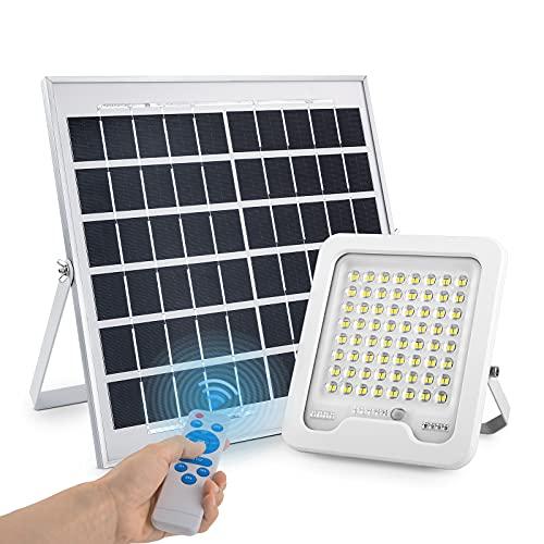 Focos LED Exterior Solares Con Mando A Distancia, 60W Lámpara Foco Solar Exterior, 10000mAh Batería De Gran Capacidad Luz Solar Exterior Interior, IP65 Impermeable Foco LED Exterior Para Jardin Garaje