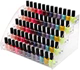 5 Tiers Acrylic Clear Plastic Nail Polishes Organizer Lipstick Holder Display Stands Essential Oils Storage Rack Dropper Bottles for Cosmetics Shop Store Display Toy Candy Holder Goods Shelf Show Case