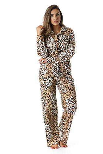 6371-10114-XL #followme Printed Flannel Button Front PJ Pant Set
