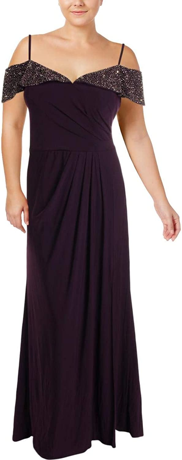 Xscape Womens Plus Embellished Semi Formal Evening Dress