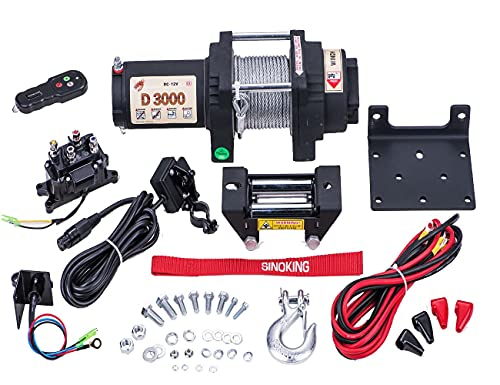 Sinoking 12VDC 3000LB UTV ATV Winch with 3/16″39′(feet) Steel Cable 12V Electric Winch Kit with Wireless Remote Control
