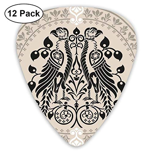 Guitar Picks12pcs Plectrum (0.46mm-0.96mm), Ethnic Heraldic Eagle Birds With Damask Floral Figures Victorian Retro Design,For Your Guitar or Ukulele