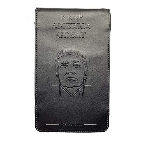 YopralGolf Black Premium Leather Golf Scorecard Holder Yardage Book Holders Cover with Free Scorecard and Pencil Keep America Great Donald Trump Design