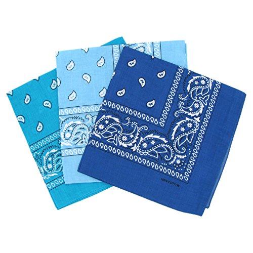 Set 3 bandanas paisley damen und herren türkis, hellblau, blau