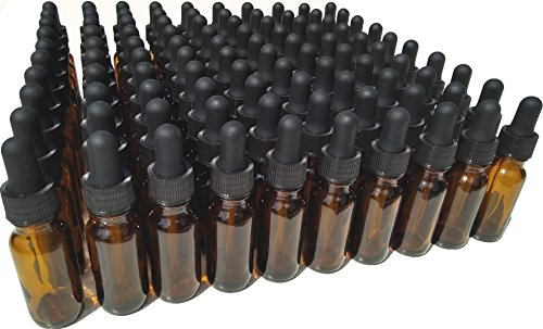 Dropper Stop 1/2 oz Amber Glass Dropper Bottles (15mL) with Tapered Glass Droppers - Pack of 100