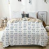 Juego de funda nórdica beige, dibujos de adornos holandeses en molino de viento azul, casa estrecha, bicicleta, árbol topiario, juego de cama decorativo de 3 piezas con 2 fundas de almohada, fácil cui