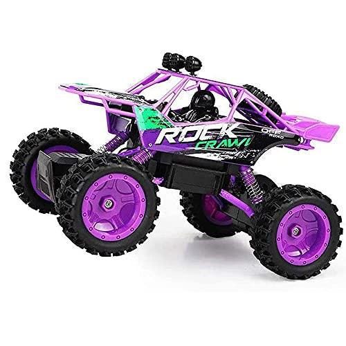 ADSVMEL Purple All Terrains 4WD Off-Road Car, neumático Grande de 10 cm, Alta Velocidad 30 + mph Bigfoot Monster Truck 2.4GHz Radio Control Remoto Drift Car para niños, niñas y niños RC Hobby