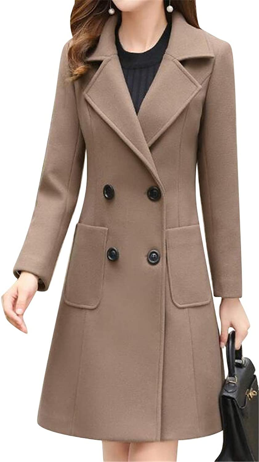 DFBB Women's Double Breasted Solid color Fall Winter Slim Mid Length Wool Blend Trench Coat Jacket Overcoat