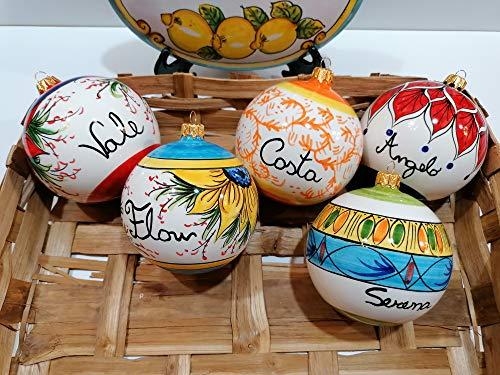 Palline di Natale pallina in ceramica vietrese dipinta a mano Vietri 5pz assortiti personalizzabili 8Cm
